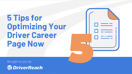 5 Tips for Optimizing Your Driver Career Page Now