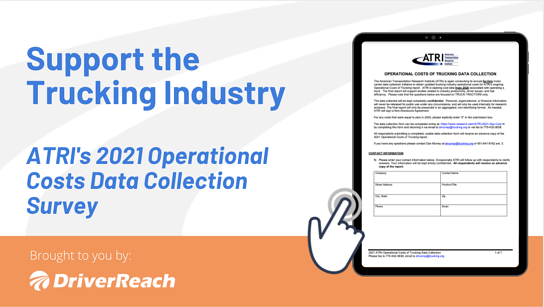 Support the Trucking Industry: ATRI's 2021 Operational Costs Data Collection Survey