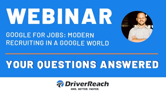 Webinar Q&A: Google for Jobs: Modern Recruiting in a Google World