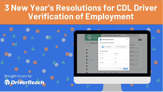 3 New Year's Resolutions for CDL Driver Verification of Employment