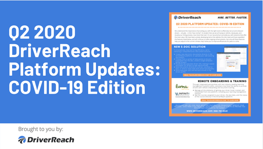 Q2 2020 DriverReach Platform Updates: COVID-19 Edition