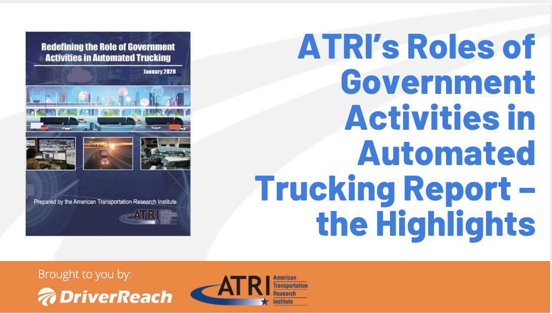 ATRI's Roles of Government Activities in Automated Trucking Report - the Highlights